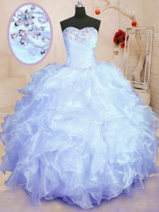 Simple Sleeveless Lace Up Floor Length Beading and Ruffles Quinceanera Gown