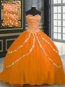 Orange Ball Gowns Tulle Sweetheart Sleeveless Beading and Appliques With Train Lace Up Sweet 16 Quinceanera Dress Brush