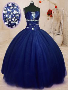 Graceful Strapless Sleeveless Tulle 15 Quinceanera Dress Beading Lace Up