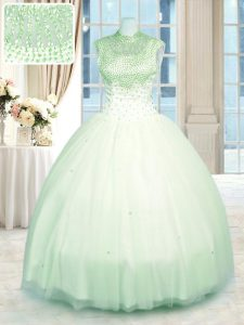 High Class Ball Gowns Quinceanera Dresses Apple Green High-neck Tulle Sleeveless Floor Length Zipper