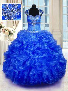 Royal Blue Cap Sleeves Beading and Ruffles Floor Length Quinceanera Dress
