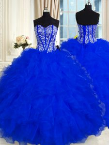 Custom Fit Floor Length Royal Blue Quinceanera Gowns Organza Sleeveless Beading and Ruffles