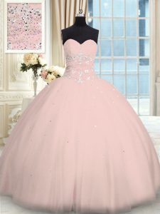 Traditional Tulle Sweetheart Sleeveless Lace Up Beading 15 Quinceanera Dress in Pink