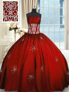 Wine Red Lace Up Sweet 16 Dress Beading and Appliques and Ruching Sleeveless Floor Length