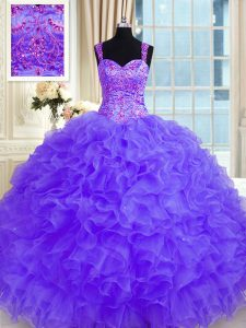 Fashion Purple Long Sleeves Beading and Embroidery and Ruffles Floor Length Sweet 16 Dress