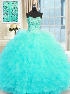 Aqua Blue Ball Gowns Tulle Sweetheart Sleeveless Beading and Ruffles Floor Length Lace Up Quince Ball Gowns