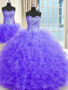 Fitting Three Piece Floor Length Ball Gowns Sleeveless Lavender Ball Gown Prom Dress Lace Up