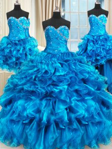 Four Piece Floor Length Blue Vestidos de Quinceanera Organza Sleeveless Beading and Ruffles and Ruching