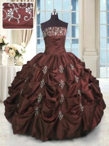 Burgundy Ball Gowns Beading and Appliques and Embroidery and Pick Ups 15th Birthday Dress Lace Up Taffeta Sleeveless Flo