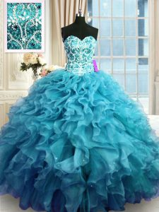 Teal Ball Gowns Beading and Ruffles Vestidos de Quinceanera Lace Up Organza Sleeveless Floor Length