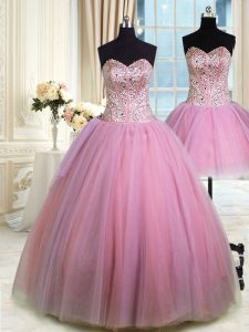 Sophisticated Three Piece Lavender Ball Gowns Sweetheart Sleeveless Tulle Floor Length Lace Up Beading Quinceanera Dress