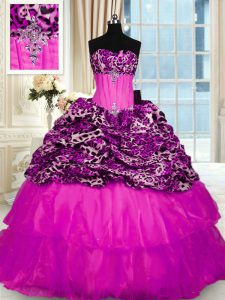 Printed Sleeveless Sweep Train Lace Up Beading and Ruffled Layers and Sequins Vestidos de Quinceanera