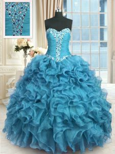 Custom Made Floor Length Lace Up 15 Quinceanera Dress Baby Blue for Military Ball and Sweet 16 and Quinceanera with Bead