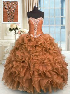 Cute Brown Sleeveless Beading and Ruffles Floor Length Quinceanera Gowns