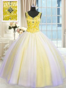 Floor Length Multi-color Sweet 16 Quinceanera Dress Tulle Sleeveless Beading and Sequins