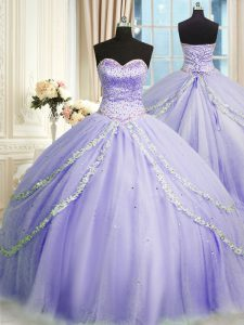 Ideal Lavender Ball Gowns Tulle Sweetheart Sleeveless Beading and Appliques With Train Lace Up Quinceanera Gown Court Tr