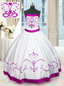 Most Popular White Ball Gowns Beading and Embroidery and Belt Quinceanera Gowns Lace Up Satin Sleeveless Floor Length