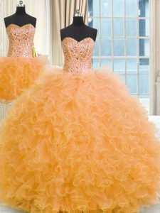 Three Piece Sleeveless Beading and Ruffles Lace Up Sweet 16 Dresses