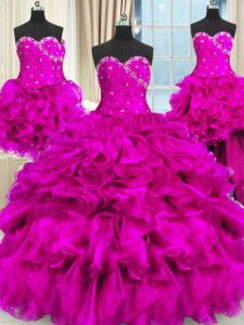 Dynamic Four Piece Sweetheart Sleeveless Lace Up Ball Gown Prom Dress Fuchsia Organza