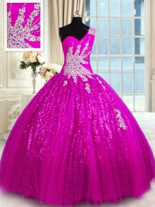 Gorgeous Fuchsia Lace Up One Shoulder Appliques Ball Gown Prom Dress Lace Sleeveless
