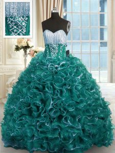 Turquoise Sleeveless Brush Train Beading and Ruffles With Train Quinceanera Gowns