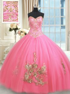 Rose Pink Ball Gowns Tulle Sweetheart Sleeveless Beading and Appliques and Embroidery Floor Length Lace Up 15th Birthday