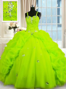 Inexpensive Floor Length Lace Up Quinceanera Dress Yellow Green for Military Ball and Sweet 16 and Quinceanera with Bead