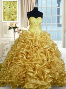Sweetheart Sleeveless Organza Quinceanera Dress Beading and Pick Ups Sweep Train Lace Up