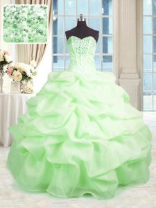 Captivating Ball Gowns Beading and Ruffles Quince Ball Gowns Lace Up Organza Sleeveless Floor Length