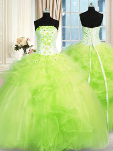 Fancy Ball Gown Prom Dress Military Ball and Sweet 16 and Quinceanera and For with Beading and Ruffles Strapless Sleevel
