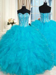 Organza Sleeveless Floor Length Sweet 16 Dresses and Beading and Ruffles
