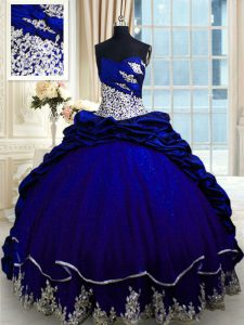 Top Selling Royal Blue Sweetheart Neckline Beading and Appliques and Pick Ups Quinceanera Gown Sleeveless Lace Up