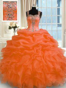 Orange Red Zipper Quinceanera Dress Appliques Sleeveless Floor Length