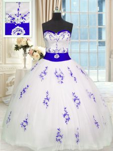 Floor Length White 15 Quinceanera Dress Tulle Sleeveless Embroidery and Belt