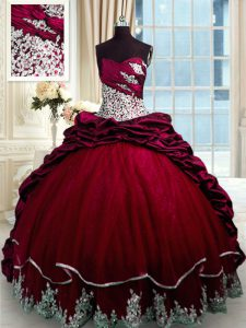 Wine Red Vestidos de Quinceanera Military Ball and Sweet 16 and Quinceanera and For with Beading and Appliques and Pick