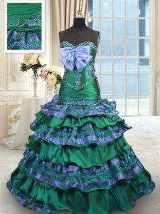 Noble Ruffled Layers Sweetheart Sleeveless Brush Train Lace Up Quinceanera Dress Dark Green Taffeta