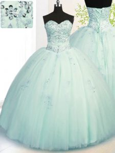 Sexy Apple Green Ball Gowns Sweetheart Sleeveless Tulle Floor Length Lace Up Beading and Appliques 15th Birthday Dress