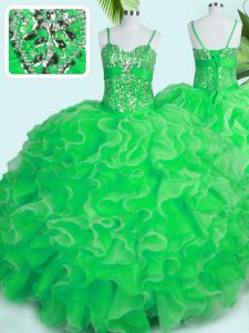 Sleeveless Organza Floor Length Lace Up Quinceanera Dresses in Green with Beading and Ruffles