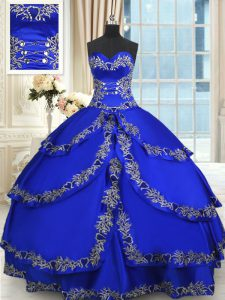 Enchanting Sleeveless Floor Length Beading and Embroidery and Ruffled Layers Lace Up 15 Quinceanera Dress with Royal Blu