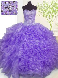 Lavender Sleeveless Floor Length Beading and Ruffles and Pick Ups Lace Up Quinceanera Dresses