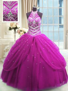 Traditional Fuchsia Vestidos de Quinceanera Military Ball and Sweet 16 and Quinceanera and For with Beading High-neck Sl