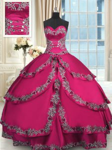 Latest Ruffled Ball Gowns Quinceanera Gown Wine Red Sweetheart Taffeta Sleeveless Floor Length Lace Up