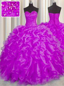 Fuchsia Lace Up Vestidos de Quinceanera Beading and Ruffles Sleeveless Floor Length