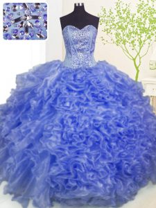 Floor Length Lace Up 15th Birthday Dress Blue for Military Ball and Sweet 16 and Quinceanera with Beading and Ruffles an