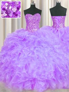 Beauteous Lavender Sweetheart Lace Up Beading and Ruffles Quinceanera Dress Sleeveless