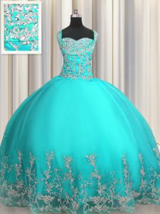 Sweetheart Sleeveless 15 Quinceanera Dress Floor Length Beading and Appliques Aqua Blue Organza