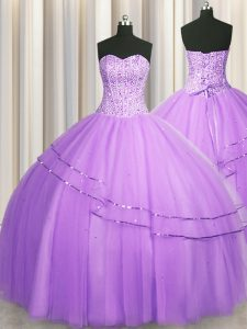 Glittering Visible Boning Puffy Skirt Lilac Ball Gowns Sweetheart Sleeveless Tulle Floor Length Lace Up Beading 15 Quinc