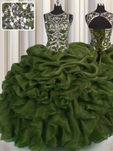 Fitting See Through Ball Gowns 15th Birthday Dress Olive Green Scoop Organza Sleeveless Floor Length Lace Up