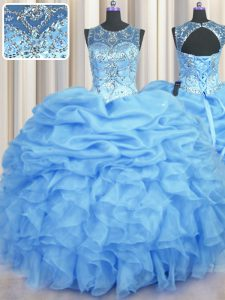 Traditional See Through Scoop Sleeveless Organza Quinceanera Dresses Beading and Ruffles and Pick Ups Lace Up
