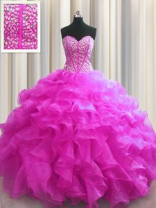 Fashionable Visible Boning Fuchsia Sweet 16 Dresses Military Ball and Sweet 16 and Quinceanera and For with Beading and
